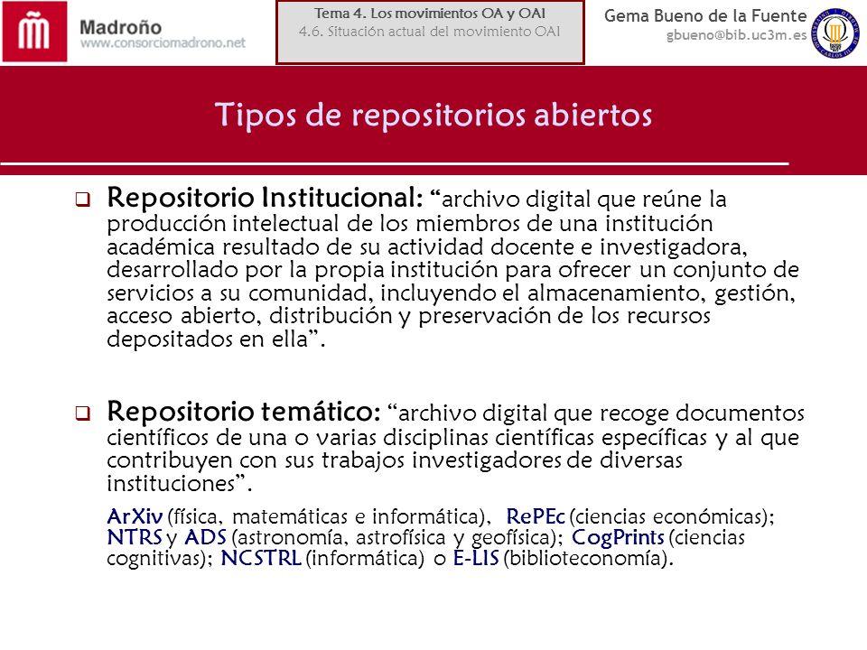 Gema Bueno de la Fuente gbueno@bib.uc3m.es Tipos de repositorios abiertos Repositorio Institucional: archivo digital que reúne la producción intelectu