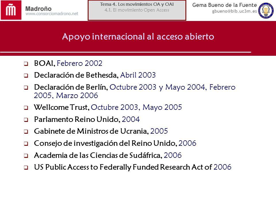 Gema Bueno de la Fuente gbueno@bib.uc3m.es Apoyo internacional al acceso abierto BOAI, Febrero 2002 Declaración de Bethesda, Abril 2003 Declaración de