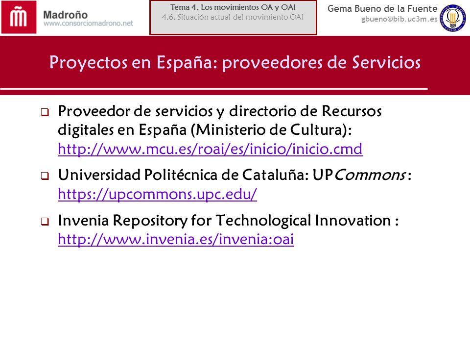 Gema Bueno de la Fuente gbueno@bib.uc3m.es Proyectos en España: proveedores de Servicios Proveedor de servicios y directorio de Recursos digitales en