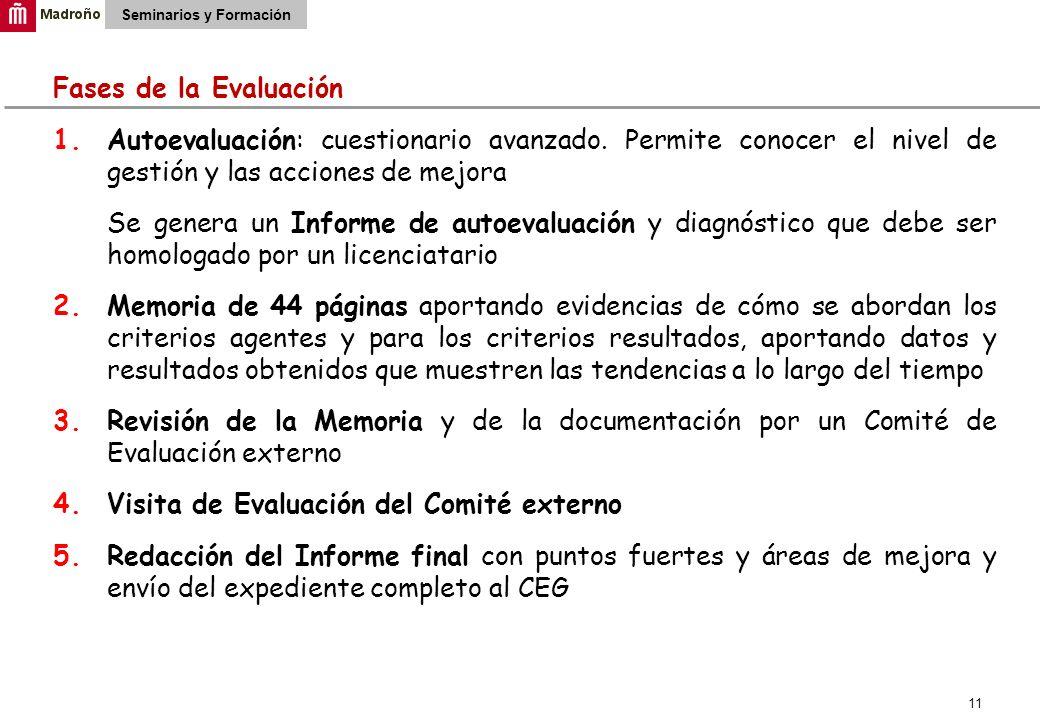 11 Seminarios y Formación Fases de la Evaluación 1.Autoevaluación: cuestionario avanzado.
