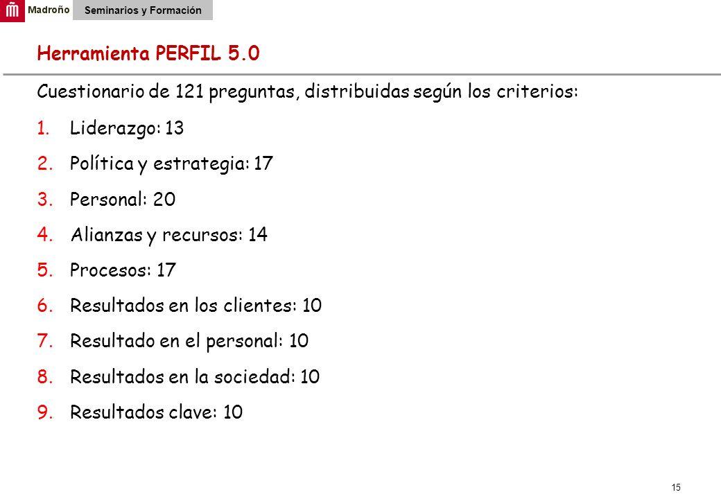 15 Seminarios y Formación Herramienta PERFIL 5.0 Cuestionario de 121 preguntas, distribuidas según los criterios: 1.Liderazgo: 13 2.Política y estrate
