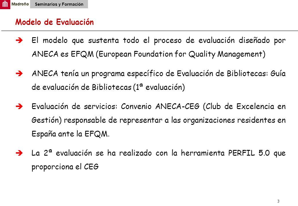 3 Seminarios y Formación Modelo de Evaluación El modelo que sustenta todo el proceso de evaluación diseñado por ANECA es EFQM (European Foundation for Quality Management) ANECA tenía un programa específico de Evaluación de Bibliotecas: Guía de evaluación de Bibliotecas (1ª evaluación) Evaluación de servicios: Convenio ANECA-CEG (Club de Excelencia en Gestión) responsable de representar a las organizaciones residentes en España ante la EFQM.