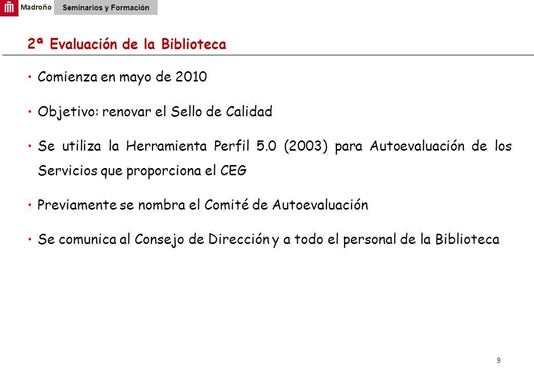 9 Seminarios y Formación 2ª Evaluación de la Biblioteca Comienza en mayo de 2010 Objetivo: renovar el Sello de Calidad Se utiliza la Herramienta Perfi