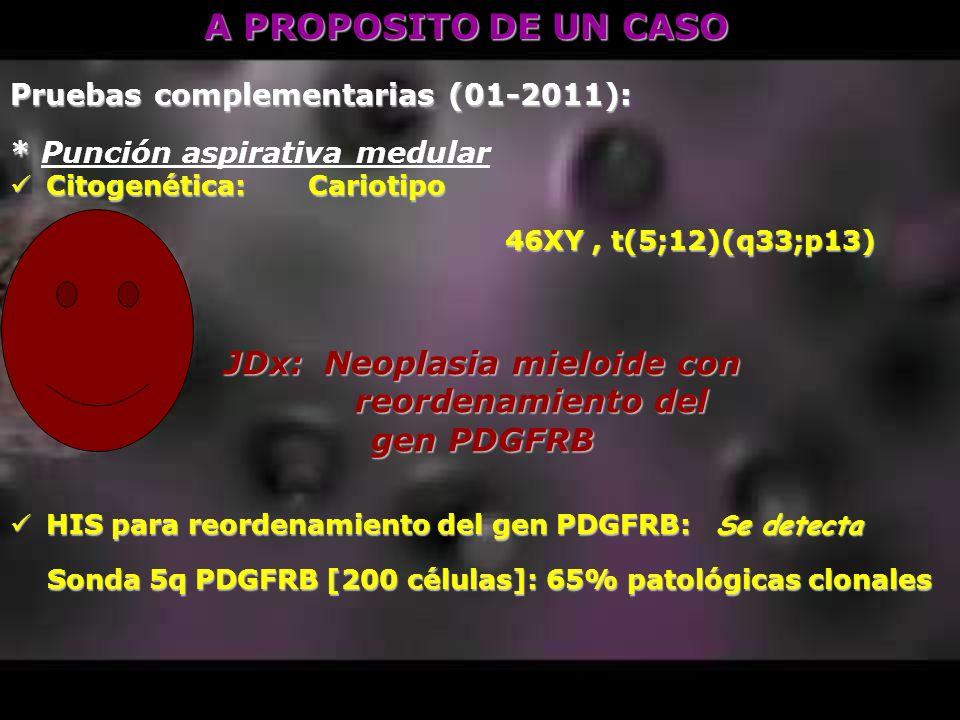 A PROPOSITO DE UN CASO Pruebas complementarias (01-2011): * * Punción aspirativa medular Citogenética: Cariotipo Citogenética: Cariotipo 46XY, t(5;12)