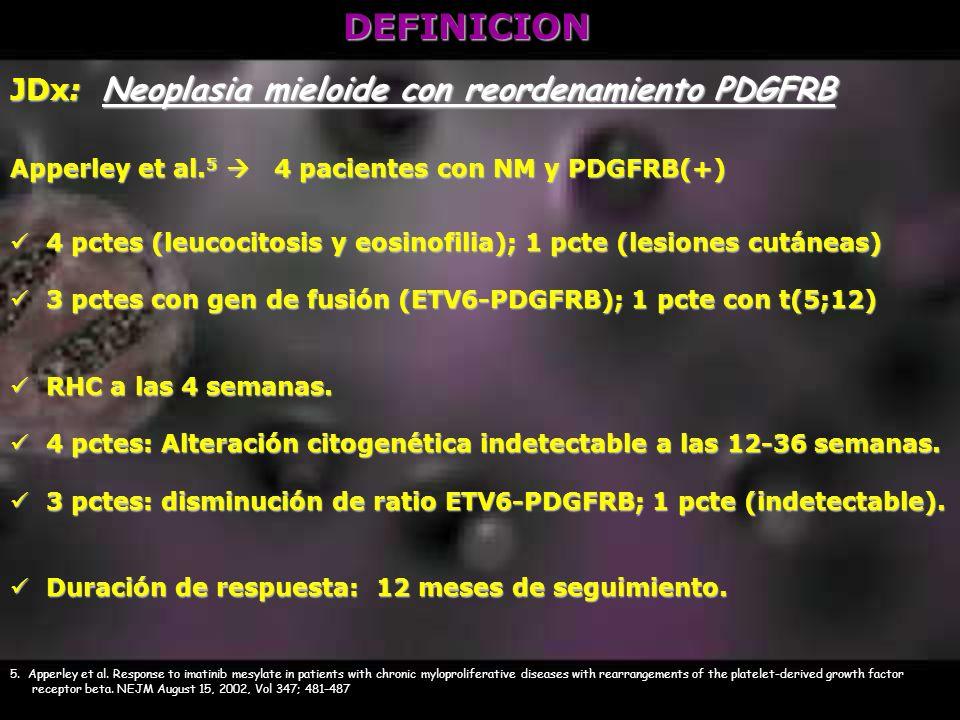 DEFINICION JDx: Neoplasia mieloide con reordenamiento PDGFRB Apperley et al. 5 4 pacientes con NM y PDGFRB(+) 4 pctes (leucocitosis y eosinofilia); 1