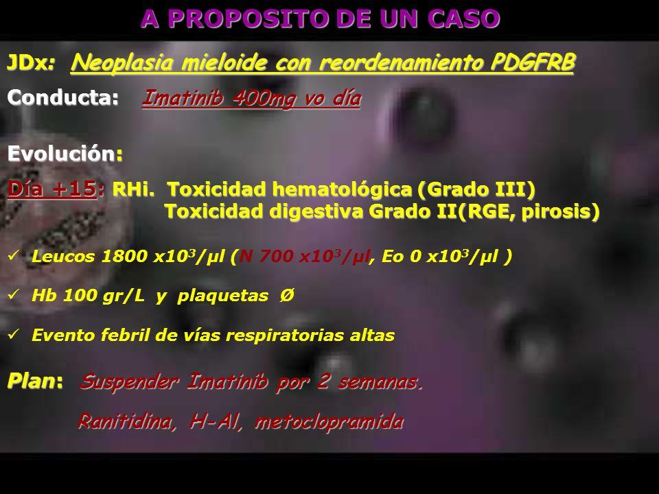 A PROPOSITO DE UN CASO JDx: Neoplasia mieloide con reordenamiento PDGFRB Conducta: Imatinib 400mg vo día Evolución: Día +15: RHi. Toxicidad hematológi