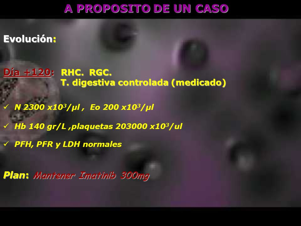 A PROPOSITO DE UN CASO Evolución: Día +120: RHC. RGC. T. digestiva controlada (medicado) T. digestiva controlada (medicado) N 2300 x10 3 /μl, Eo 200 x