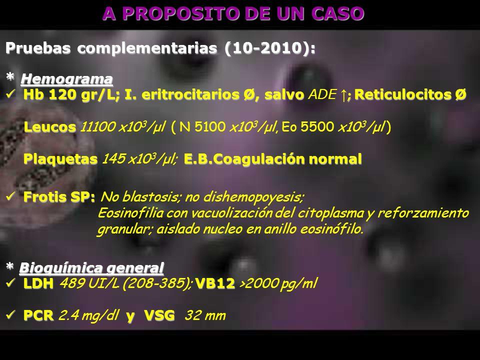 A PROPOSITO DE UN CASO Pruebas complementarias (10-2010): * Hemograma Hb 120 gr/L; I. eritrocitarios Ø, salvo ; Reticulocitos Ø Hb 120 gr/L; I. eritro