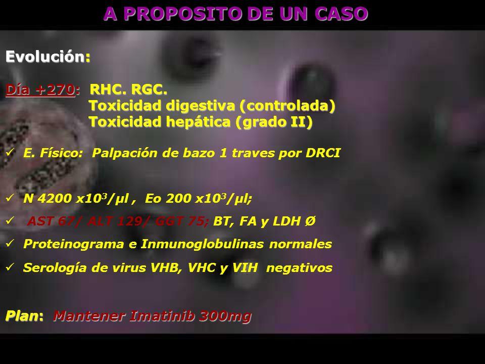 Evolución: Día +270: RHC. RGC. Toxicidad digestiva (controlada) Toxicidad digestiva (controlada) Toxicidad hepática (grado II) Toxicidad hepática (gra