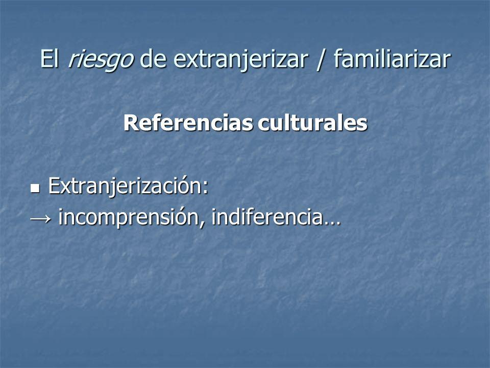 El riesgo de extranjerizar / familiarizar Referencias culturales Extranjerización: Extranjerización: incomprensión, indiferencia… incomprensión, indif