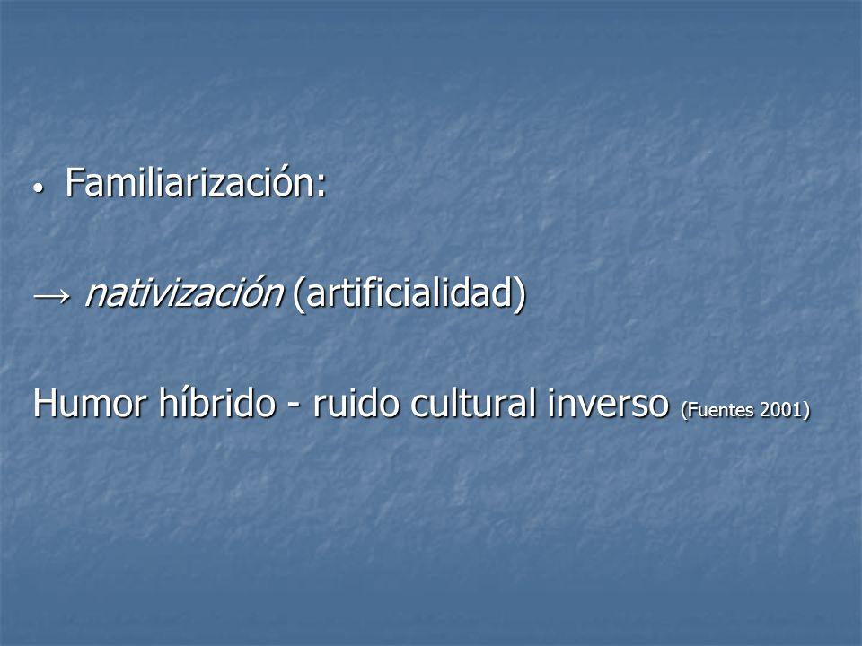 Familiarización: Familiarización: nativización (artificialidad) nativización (artificialidad) Humor híbrido - ruido cultural inverso (Fuentes 2001)