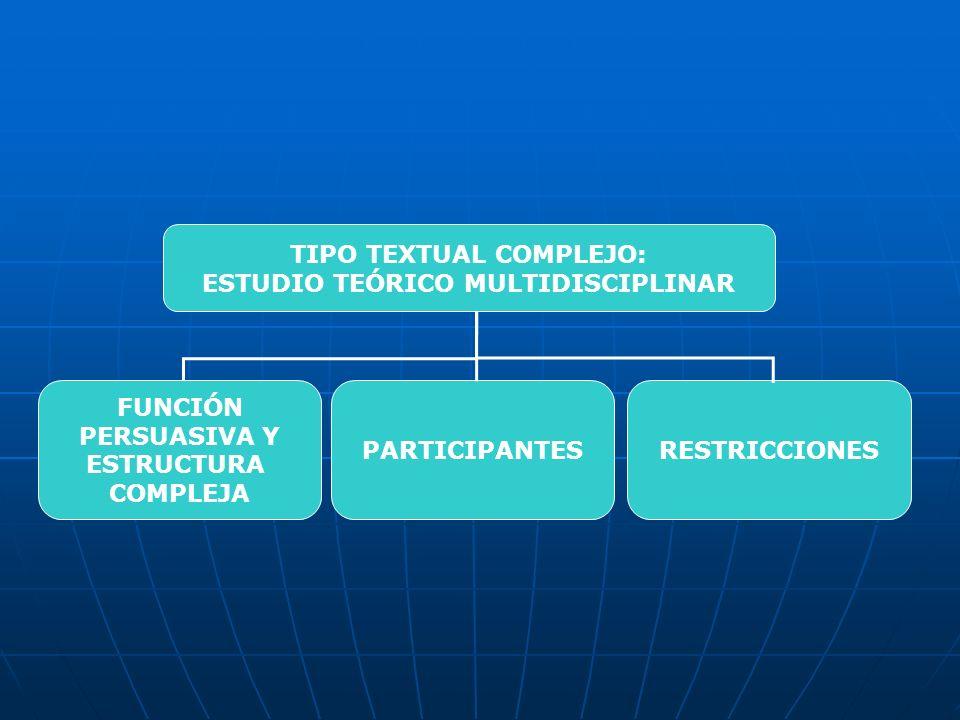 TIPO TEXTUAL COMPLEJO: ESTUDIO TEÓRICO MULTIDISCIPLINAR FUNCIÓN PERSUASIVA Y ESTRUCTURA COMPLEJA PARTICIPANTESRESTRICCIONES