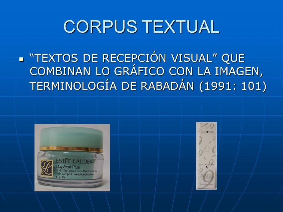 CORPUS TEXTUAL TEXTOS DE RECEPCIÓN VISUAL QUE COMBINAN LO GRÁFICO CON LA IMAGEN, TERMINOLOGÍA DE RABADÁN (1991: 101) TEXTOS DE RECEPCIÓN VISUAL QUE COMBINAN LO GRÁFICO CON LA IMAGEN, TERMINOLOGÍA DE RABADÁN (1991: 101)