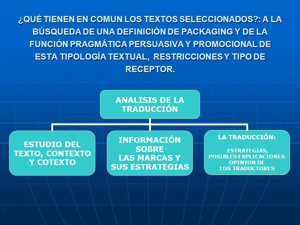 ¿QUÉ TIENEN EN COMUN LOS TEXTOS SELECCIONADOS?: A LA BÚSQUEDA DE UNA DEFINICIÓN DE PACKAGING Y DE LA FUNCIÓN PRAGMÁTICA PERSUASIVA Y PROMOCIONAL DE ESTA TIPOLOGÍA TEXTUAL, RESTRICCIONES Y TIPO DE RECEPTOR.
