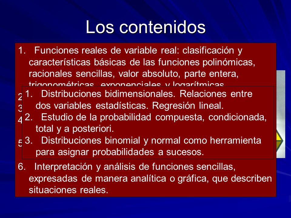 Los contenidos PRIMER CURSO: - Aritmética y Álgebra. - Geometría. - Análisis. - Estadística y Probabilidad 1.Números reales. Valor absoluto. Desiguald