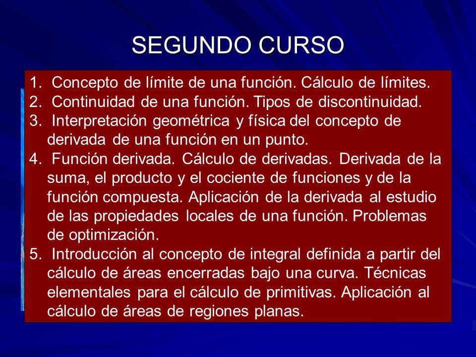 SEGUNDO CURSO – Álgebra lineal. –Geometría. –Análisis. 1. Estudio de las matrices como herramienta para manejar y operar con datos estructurados en ta