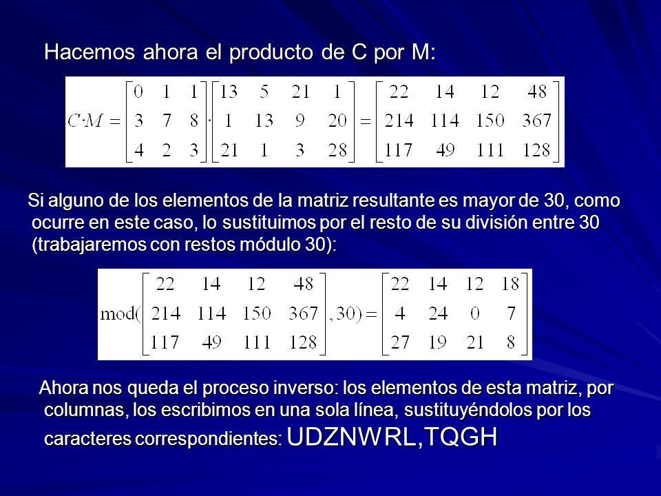 Hacemos ahora el producto de C por M: Hacemos ahora el producto de C por M: Si alguno de los elementos de la matriz resultante es mayor de 30, como oc
