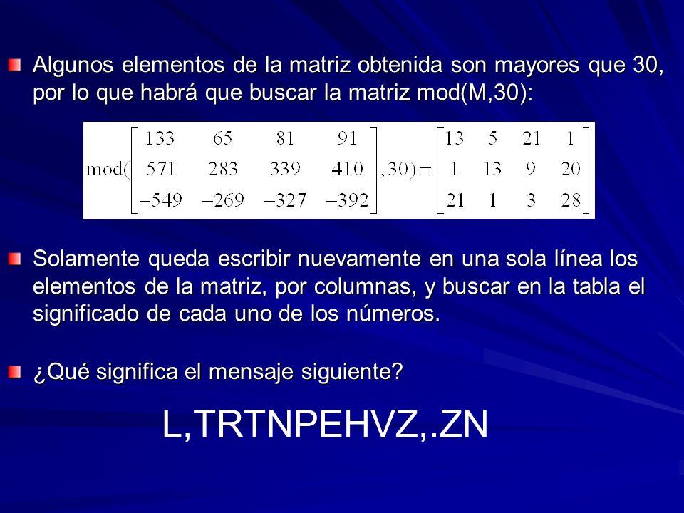 Algunos elementos de la matriz obtenida son mayores que 30, por lo que habrá que buscar la matriz mod(M,30): Solamente queda escribir nuevamente en un
