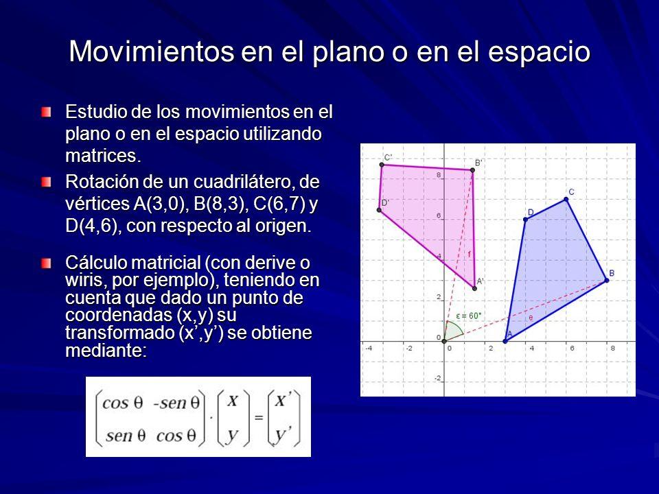 Movimientos en el plano o en el espacio Estudio de los movimientos en el plano o en el espacio utilizando matrices. Rotación de un cuadrilátero, de vé