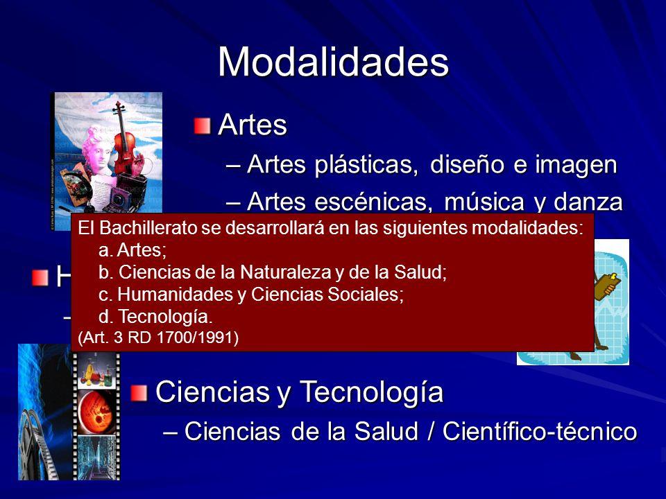 Modalidades Artes –Artes plásticas, diseño e imagen –Artes escénicas, música y danza Humanidades y ciencias sociales –Humanidades / Ciencias Sociales
