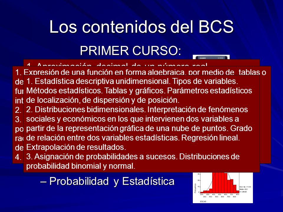 Los contenidos del BCS PRIMER CURSO: –Aritmética y Álgebra –Análisis –Probabilidad y Estadística 1. Aproximación decimal de un número real. Estimación