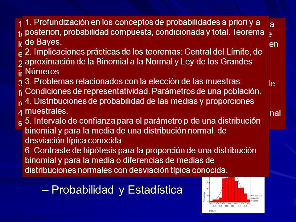 SEGUNDO CURSO –Álgebra –Análisis –Probabilidad y Estadística 1. Las matrices como expresión de tablas y grafos. Suma y producto de matrices. Interpret