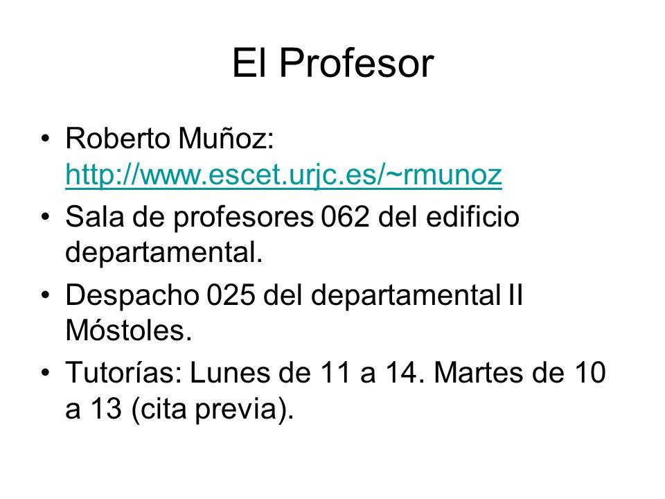 El Profesor Roberto Muñoz: http://www.escet.urjc.es/~rmunoz http://www.escet.urjc.es/~rmunoz Sala de profesores 062 del edificio departamental. Despac