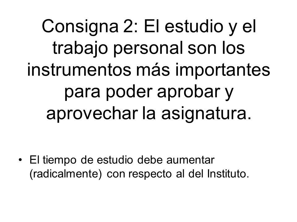 Consigna 2: El estudio y el trabajo personal son los instrumentos más importantes para poder aprobar y aprovechar la asignatura. El tiempo de estudio