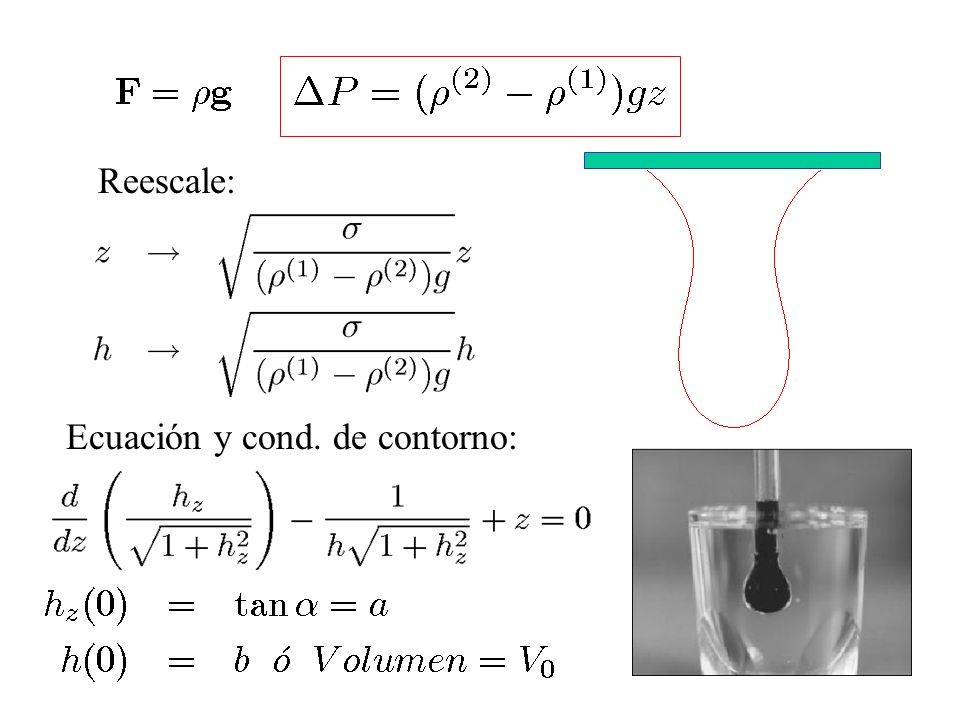 Reescale: Ecuación y cond. de contorno: