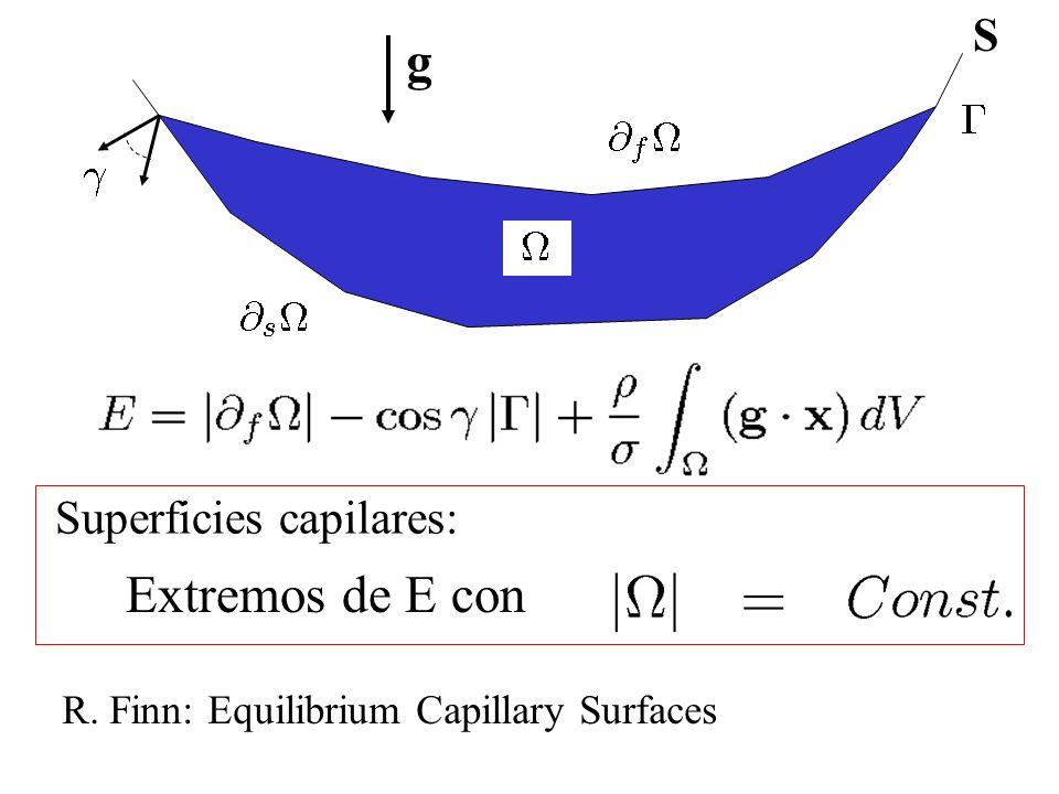g S Extremos de E con Superficies capilares: R. Finn: Equilibrium Capillary Surfaces