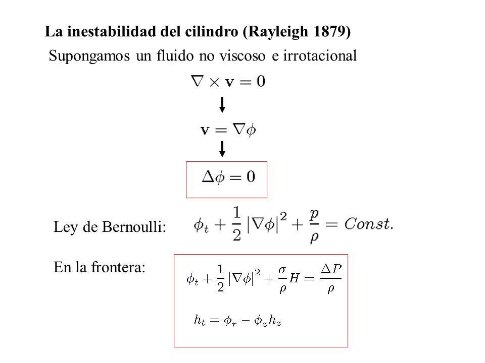 La inestabilidad del cilindro (Rayleigh 1879) Supongamos un fluido no viscoso e irrotacional Ley de Bernoulli: En la frontera: