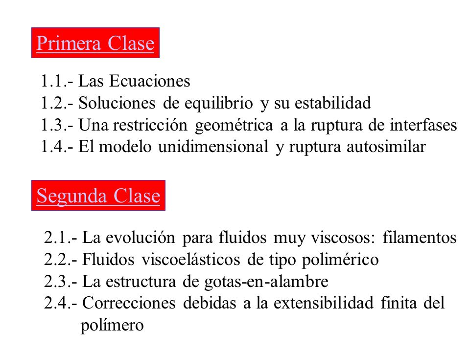 Primera Clase 1.1.- Las Ecuaciones 1.2.- Soluciones de equilibrio y su estabilidad 1.3.- Una restricción geométrica a la ruptura de interfases 1.4.- E