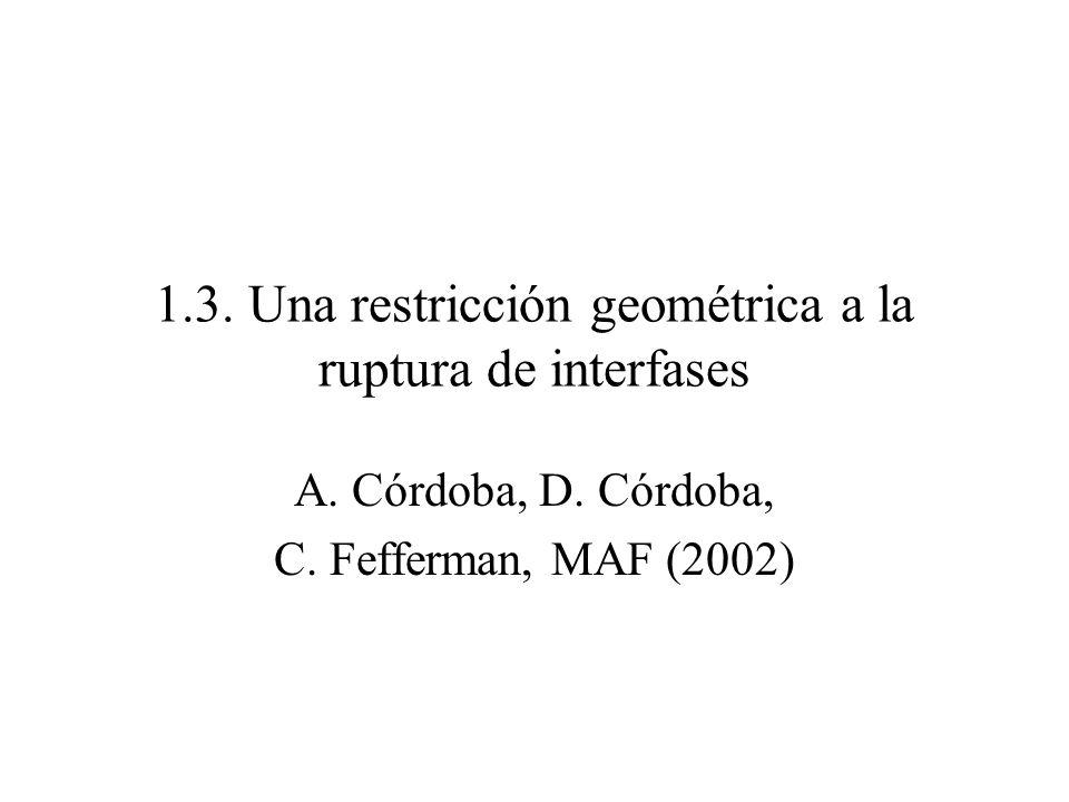 1.3. Una restricción geométrica a la ruptura de interfases A. Córdoba, D. Córdoba, C. Fefferman, MAF (2002)
