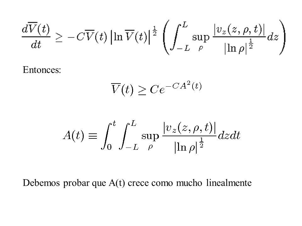 Entonces: Debemos probar que A(t) crece como mucho linealmente