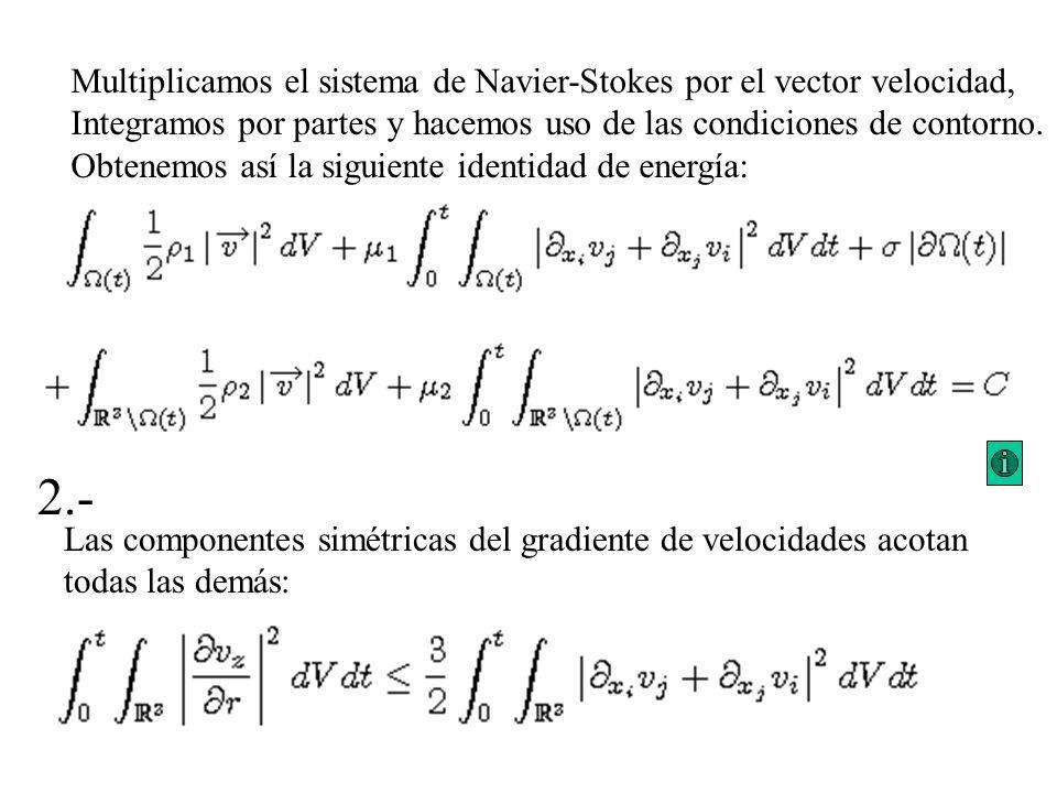 Multiplicamos el sistema de Navier-Stokes por el vector velocidad, Integramos por partes y hacemos uso de las condiciones de contorno. Obtenemos así l