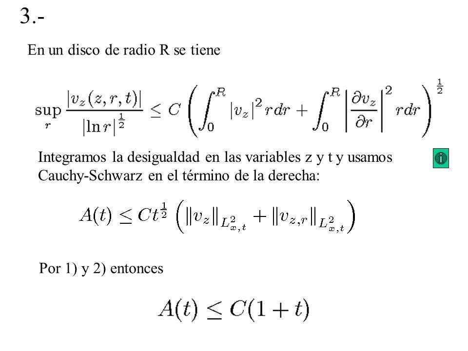En un disco de radio R se tiene Integramos la desigualdad en las variables z y t y usamos Cauchy-Schwarz en el término de la derecha: 3.- Por 1) y 2)