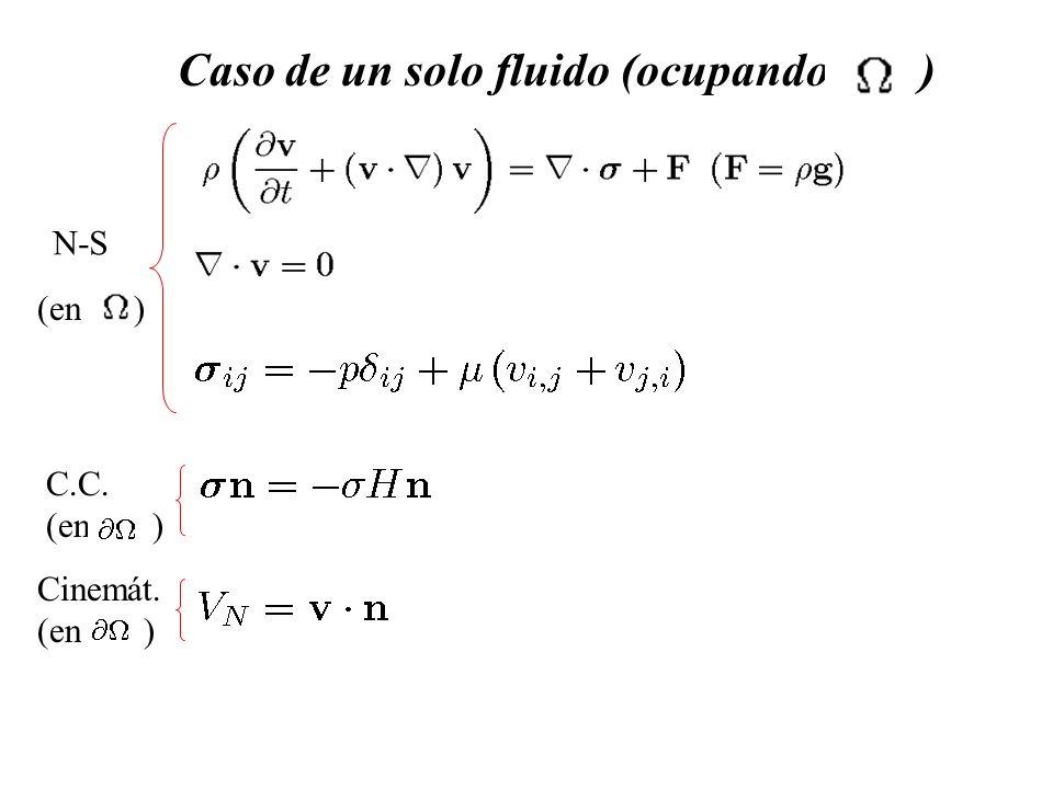 Caso de un solo fluido (ocupando ) N-S (en) C.C. (en ) Cinemát. (en )