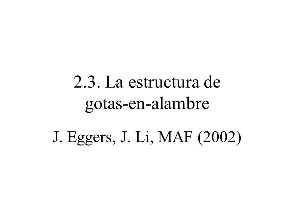 2.3. La estructura de gotas-en-alambre J. Eggers, J. Li, MAF (2002)