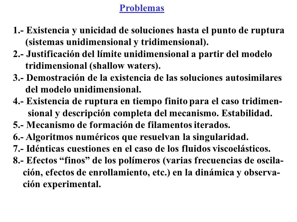 1.- Existencia y unicidad de soluciones hasta el punto de ruptura (sistemas unidimensional y tridimensional). 2.- Justificación del límite unidimensio