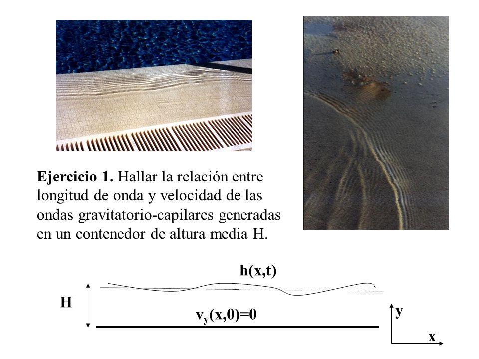 Ejercicio 1. Hallar la relación entre longitud de onda y velocidad de las ondas gravitatorio-capilares generadas en un contenedor de altura media H. H