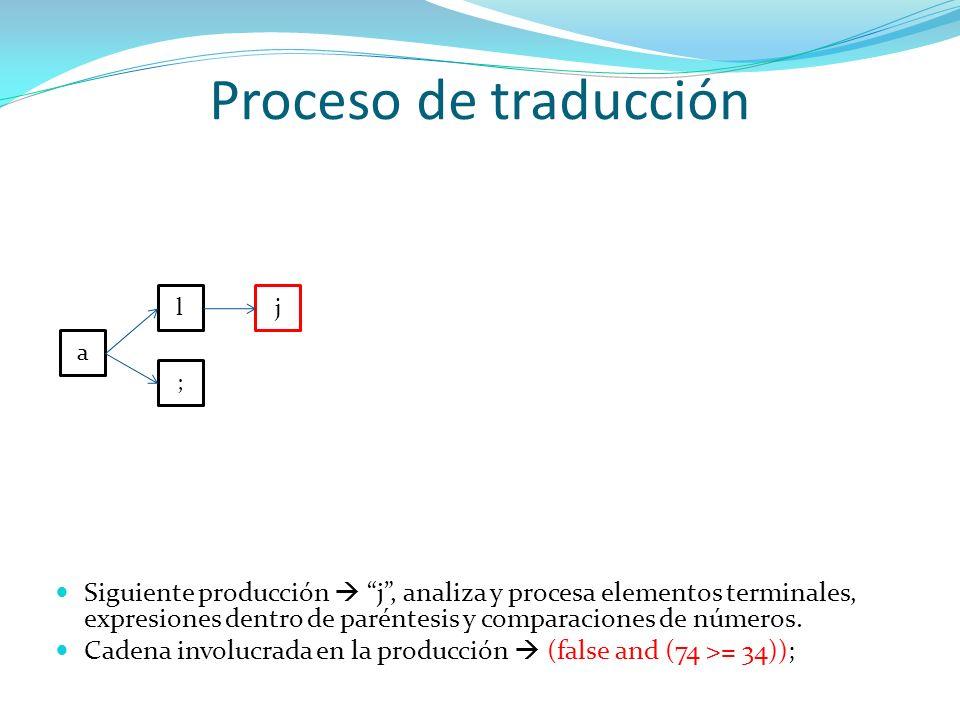 Proceso de traducción a l ; j Siguiente producción j, analiza y procesa elementos terminales, expresiones dentro de paréntesis y comparaciones de núme