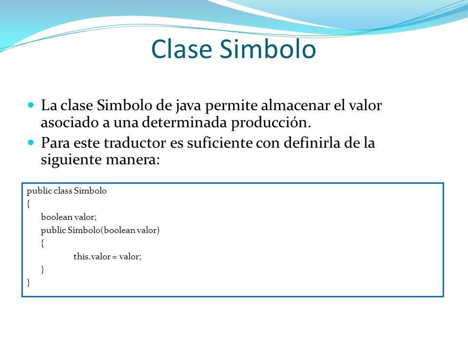 Clase Simbolo public class Simbolo { boolean valor; public Simbolo(boolean valor) { this.valor = valor; } La clase Simbolo de java permite almacenar e
