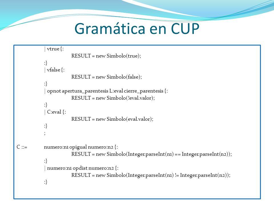 Gramática en CUP | vtrue {: RESULT = new Simbolo(true); :} | vfalse {: RESULT = new Simbolo(false); :} | opnot apertura_parentesis L:eval cierre_paren