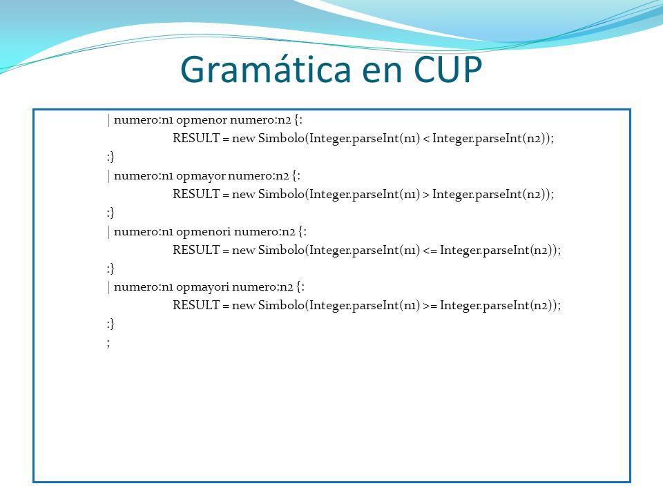 Gramática en CUP | numero:n1 opmenor numero:n2 {: RESULT = new Simbolo(Integer.parseInt(n1) < Integer.parseInt(n2)); :} | numero:n1 opmayor numero:n2