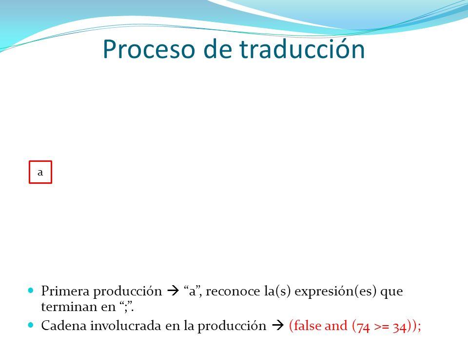 Proceso de traducción a l ; Siguiente producción l, analiza y procesa la expresión completa Cadena involucrada en la producción (false and (74 >= 34));