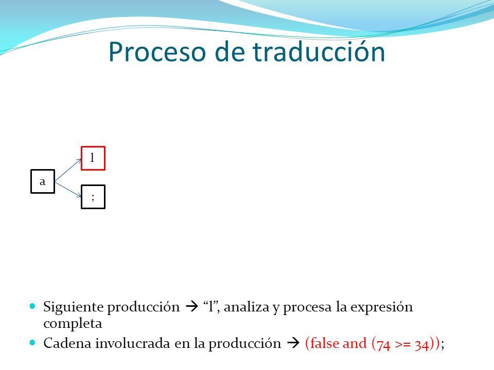 Proceso de traducción a l ; Siguiente producción l, analiza y procesa la expresión completa Cadena involucrada en la producción (false and (74 >= 34))