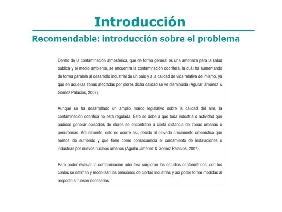 Introducción Recomendable: introducción sobre el problema