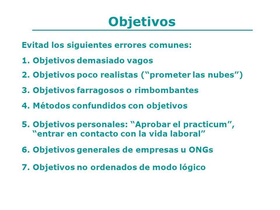 Objetivos Evitad los siguientes errores comunes: 5. Objetivos personales: Aprobar el practicum, entrar en contacto con la vida laboral 1. Objetivos de
