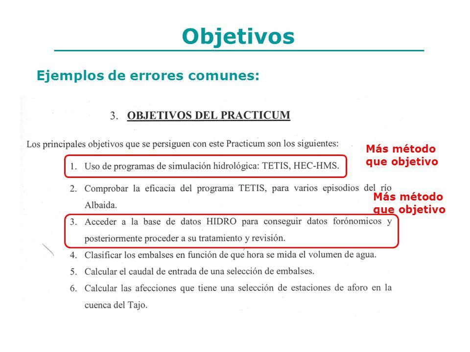 Objetivos Más método que objetivo Más método que objetivo Ejemplos de errores comunes: