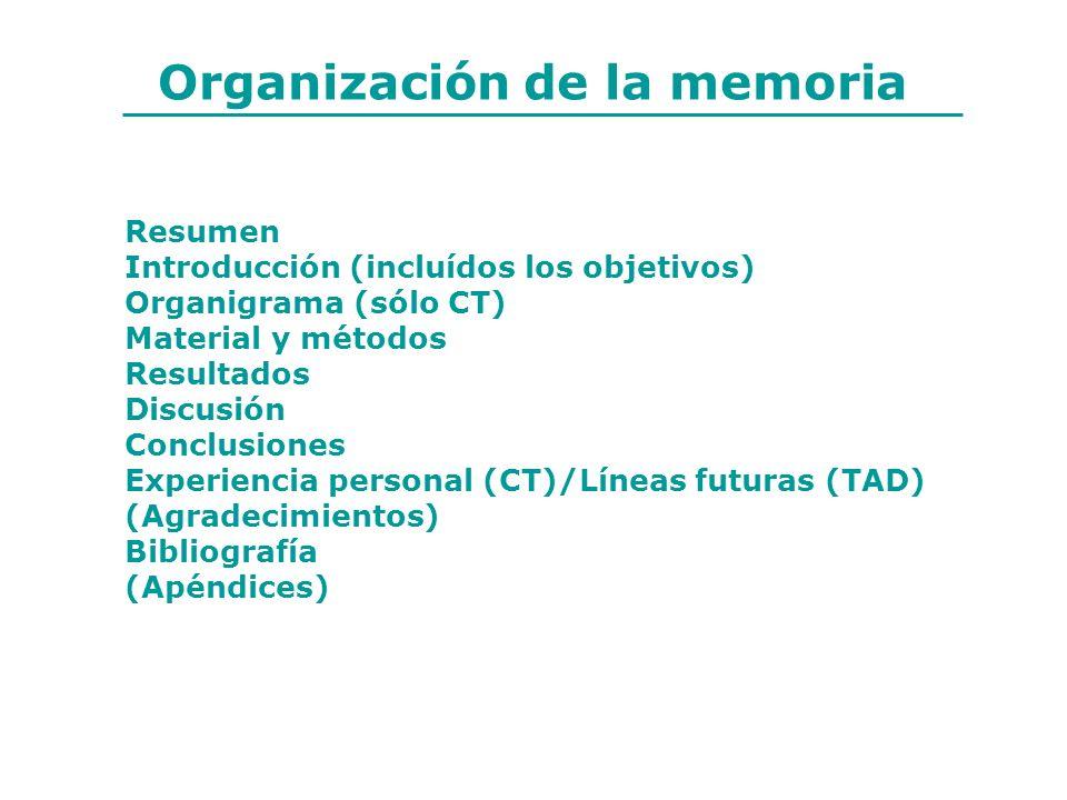 Organización de la memoria Resumen Introducción (incluídos los objetivos) Organigrama (sólo CT) Material y métodos Resultados Discusión Conclusiones E